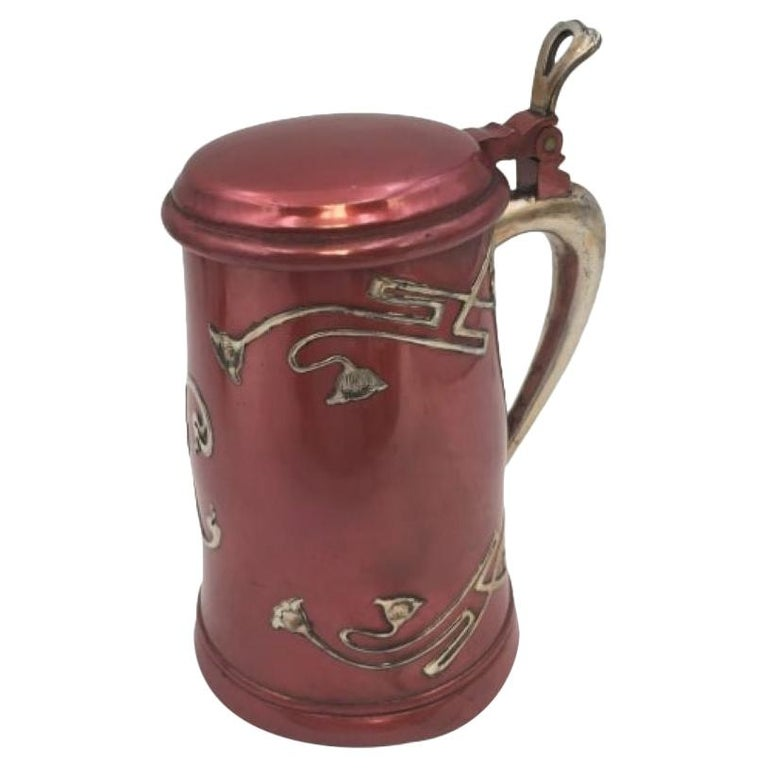 Sterling Silver and Metal Bar Tankard by W. J. Braitsch For Sale