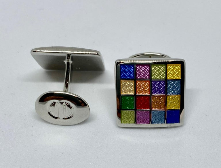 Contemporary Sterling Silver and Multicolored Enamel Cufflinks For Sale