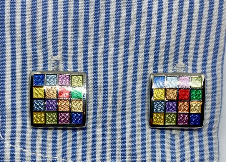 Women's or Men's Sterling Silver and Multicolored Enamel Cufflinks For Sale