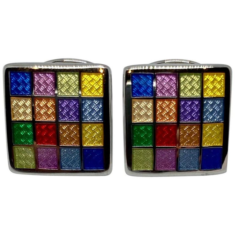 Sterling Silver and Multicolored Enamel Cufflinks For Sale