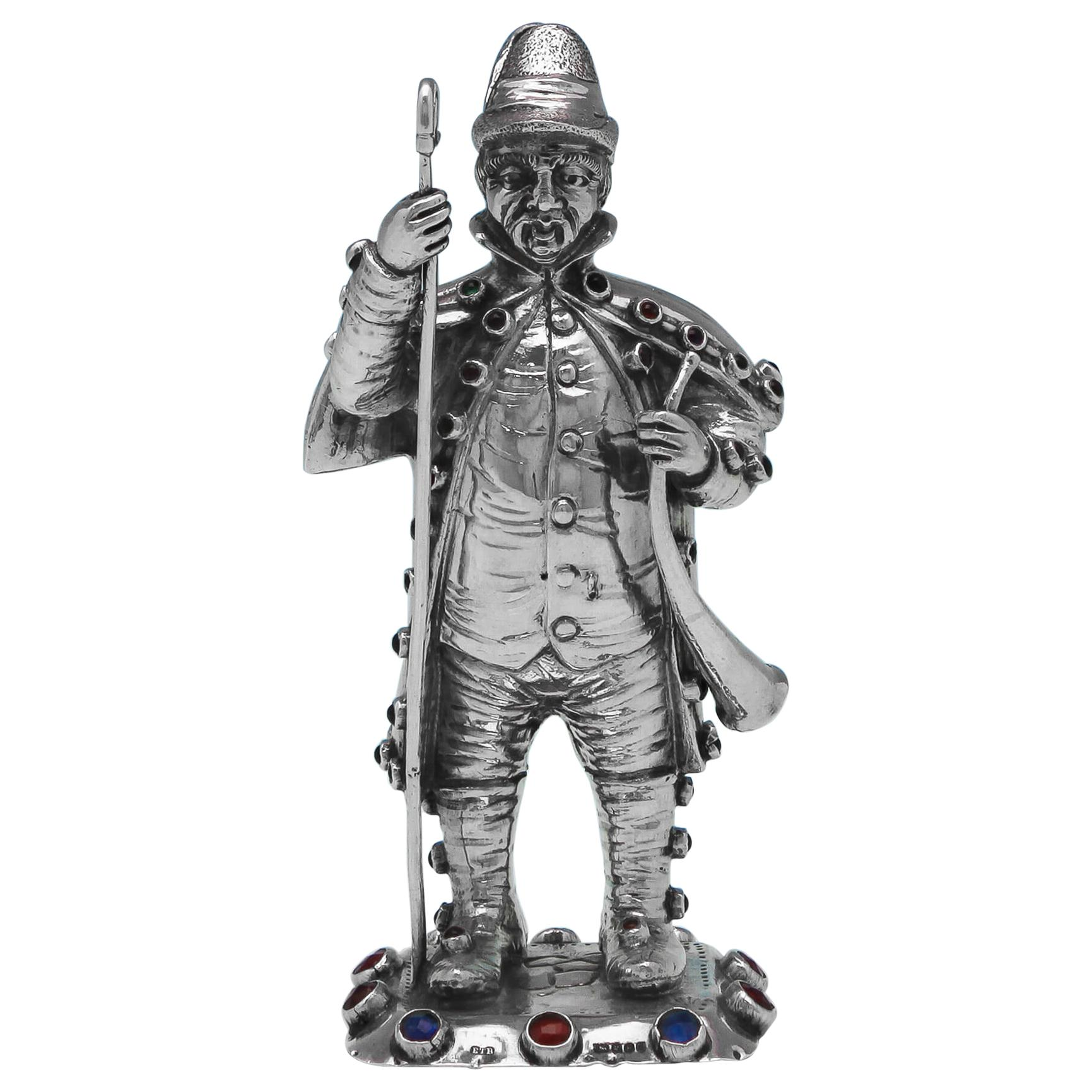 Sterling Silver and Paste Set Model of a Gentleman