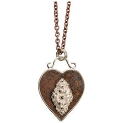 Sterling Silver and Rusted Iron Heart Necklace with Marcasite
