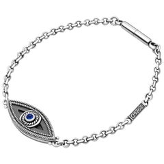 Sterling Silver and Sapphire Eye of Protection Keychain