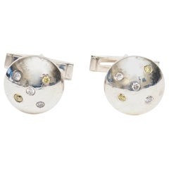 Sterling Silver and Small Diamond Jeweler Made Pair of Dome Cufflinks