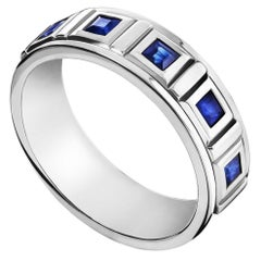 "Sterling Silver and Square-Cut Sapphire Men's ""We are One"" Calligraphy Band"