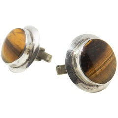 Sterling Silver and Tigers Eye Cufflinks
