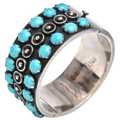 Sterling Silver and Turquoise Cuff Bracelet Vintage