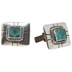 Sterling Silver and Turquoise Cufflinks