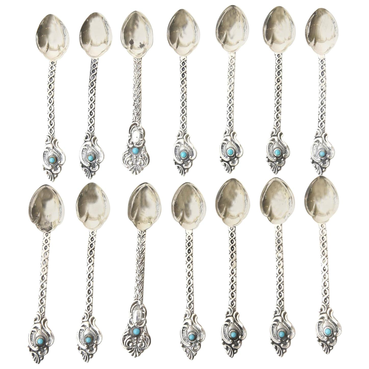 Sterling Silver and Turquoise Demitasse and Serving Spoons Vintage Set of 14