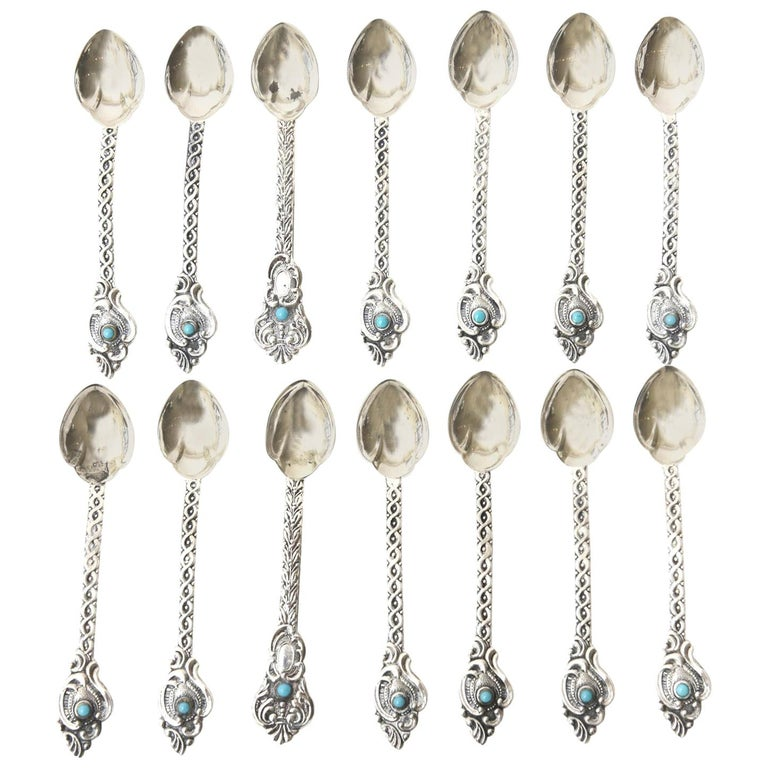 Sterling Silver and Turquoise Demitasse and Serving Spoons Vintage Set of 14 For Sale
