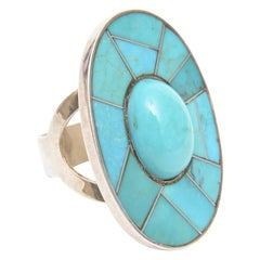 Sterling Silver and Turquoise Sculptural Ring
