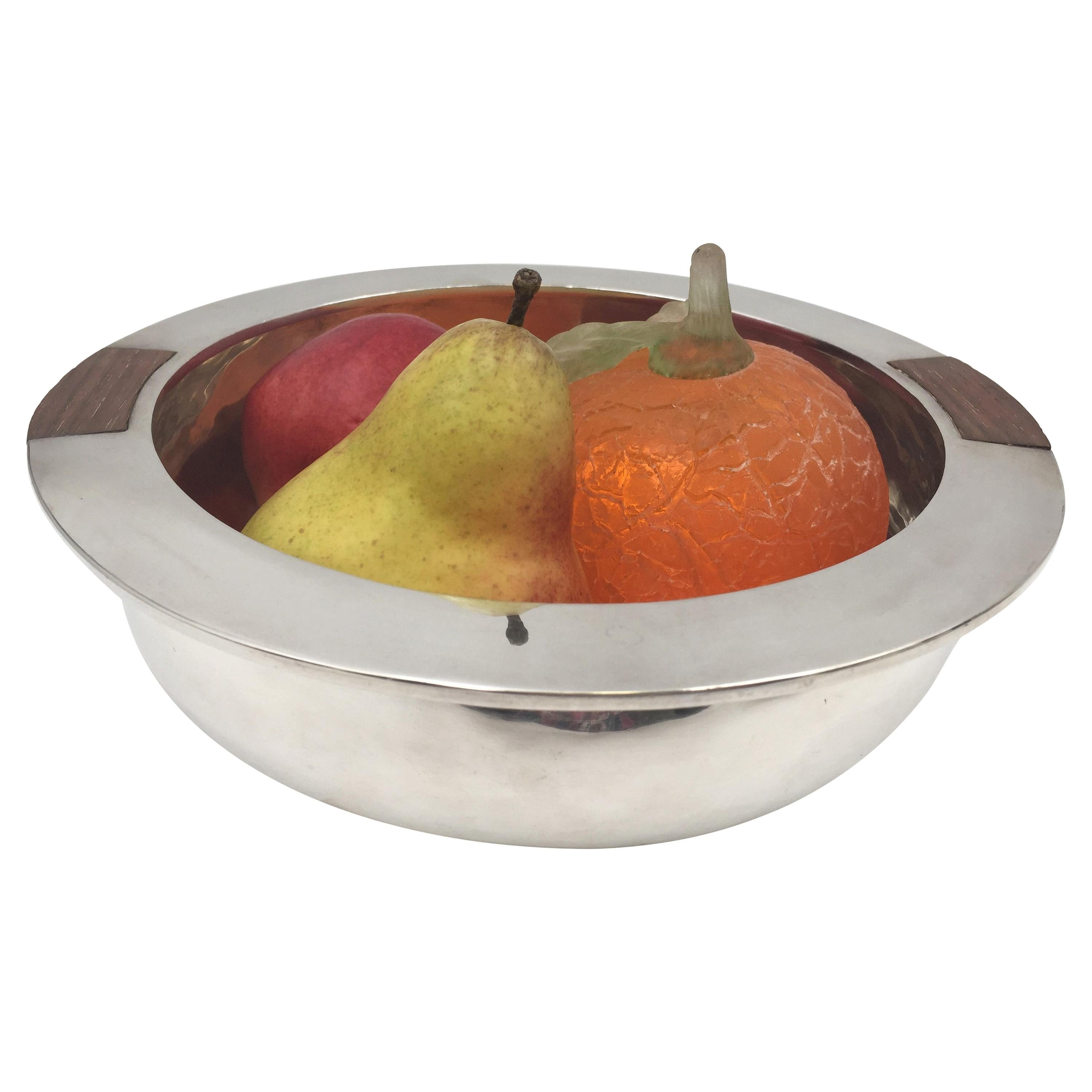 Sterling Silver and Wood Mid-Century Modern Ice Bucket Bowl