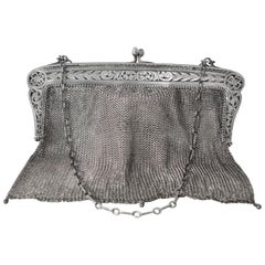Sterling Silver Antique Chain Mail Mesh Evening Bag Purse