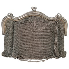 Sterling Silver Antique LS & Co. Chain Main Mesh Purse Evening Bag