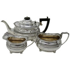 Sterling Silver Antique Three-Piece Tea Set George Nathan Ridley Chester, 1907