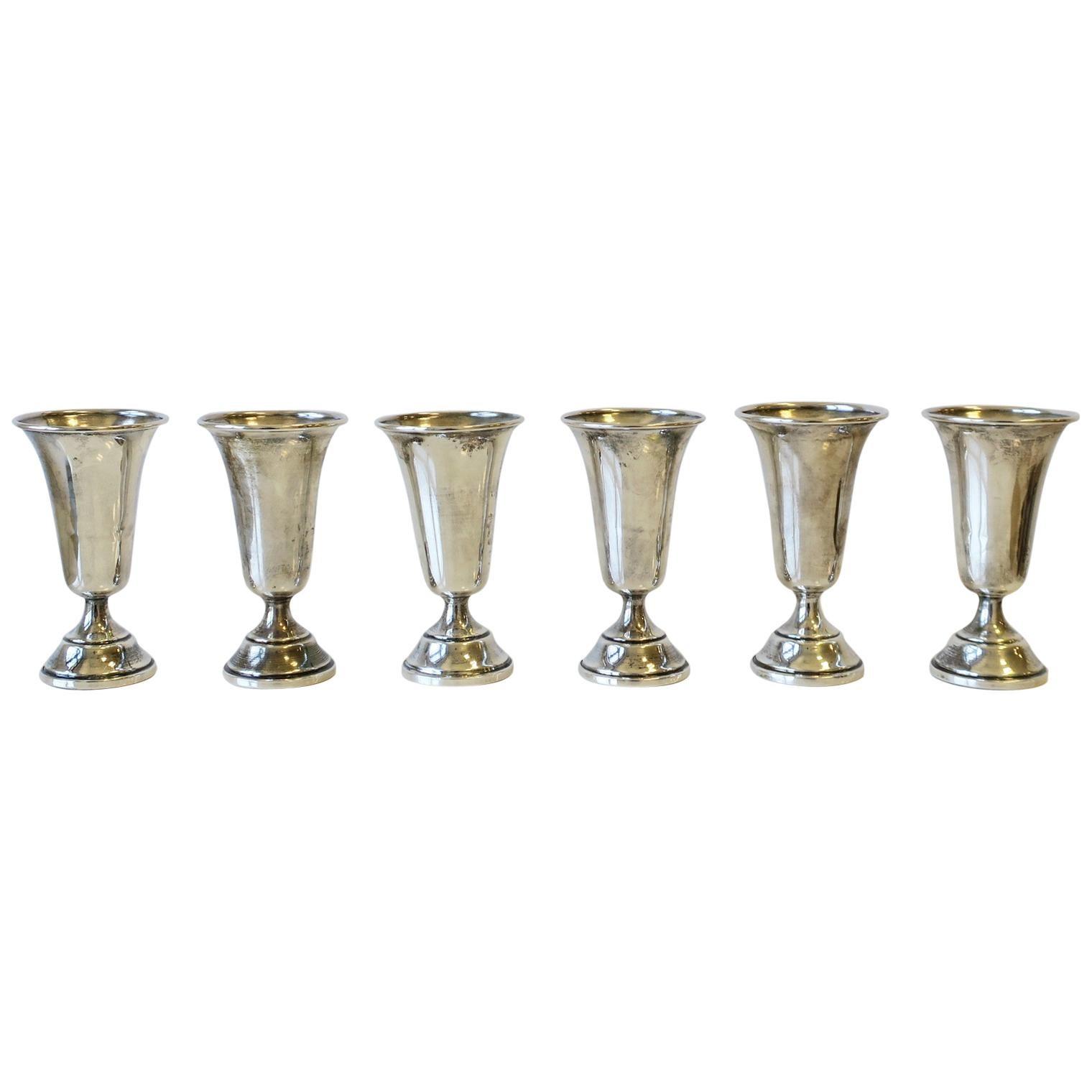 Sterling Silver Aperitif Liquor Cups or Vodka Shot Glasses, Set of 6