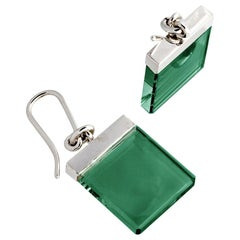 Sterling Silver Art Deco Style Earrings by Artist with Green Quartz