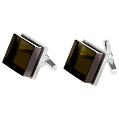 Sterling Silver Art Deco Style Ink Cufflinks by the Artist with Smoky Quartz