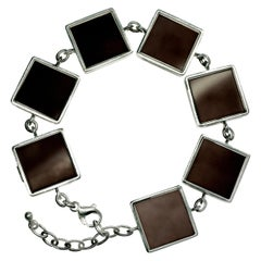 Sterling Silver Art Deco Ink Link Bracelet by the Artist with Dark Smoky Quartz