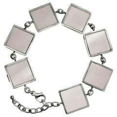Sterling Silver Art Deco Style Ink Link Bracelet with Smoky Quartzes