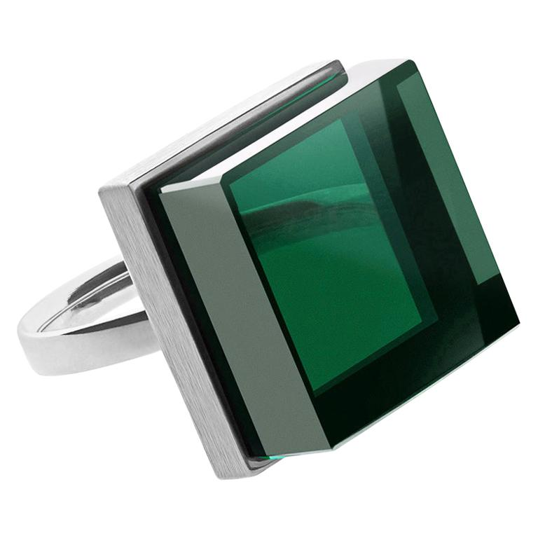 Sterling Silver Art Deco Ink Ring with Green Quartz by Artist, Featured in Vogue For Sale