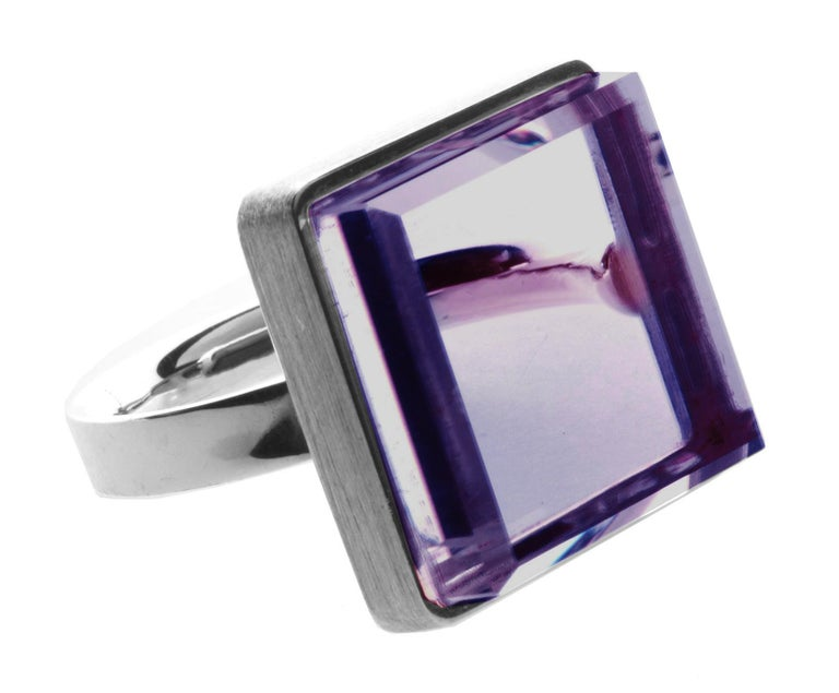 This men art deco style ring is in sterling silver with 15x15x8 mm natural amethyst. It was published in Harper's Bazaar and Vogue UA.   The ring reflects the art deco spirit and fits to women and men. It inspires the architects, designers and the