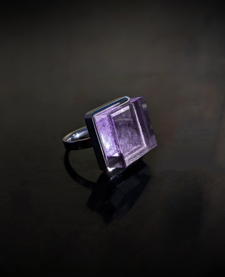 Sterling Silver Art Deco Style Men's Ring with Natural Amethyst For Sale 1