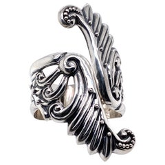 Sterling Silver Art Nouveau Inspired Hinged Bracelet