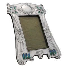 Art Nouveau Enamelled Antique Sterling Silver Photograph Frame from 1905