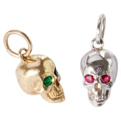 Sterling Silver Baby Skull Pendant with Ruby Eyes on Baby Rolo Chain