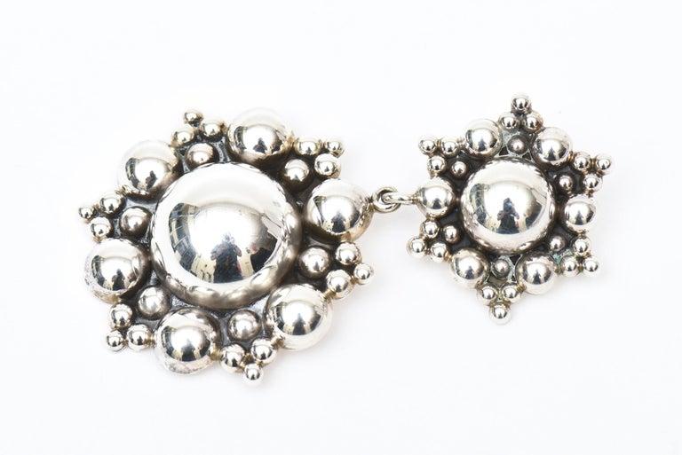 Modern Sterling Silver Ball Dangle Clip On Earrings  For Sale