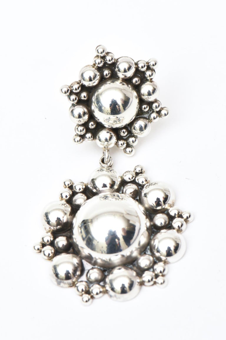 Sterling Silver Ball Dangle Clip On Earrings  In New Condition For Sale In North Miami, FL