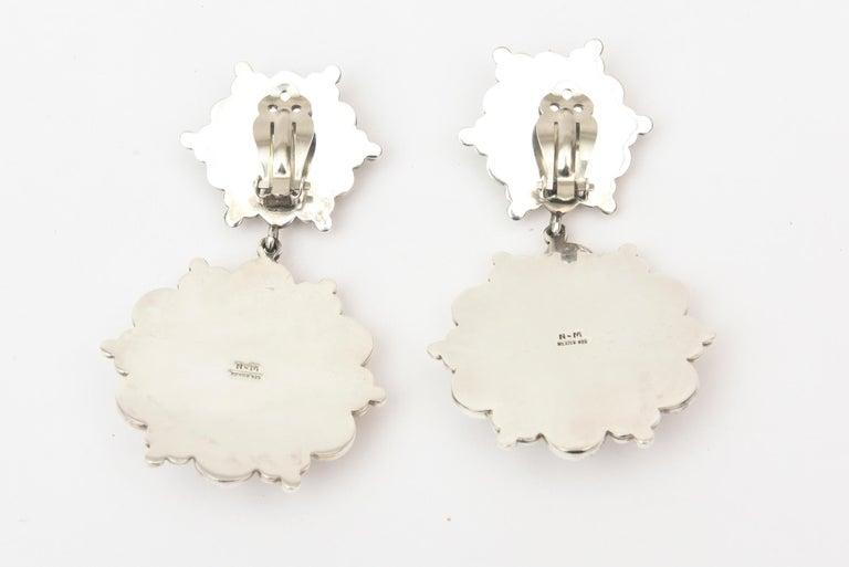 Women's Sterling Silver Ball Dangle Clip On Earrings  For Sale