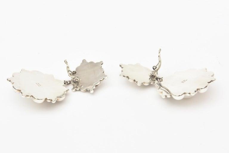 Sterling Silver Ball Dangle Clip On Earrings  For Sale 1
