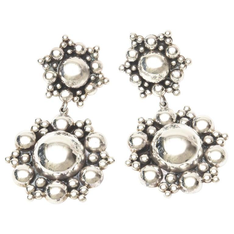 Sterling Silver Ball Dangle Clip On Earrings  For Sale