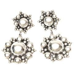 Sterling Silver Ball Dangle Clip On Earrings