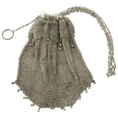 Sterling Silver Beaded Mesh Purse Pull Closure