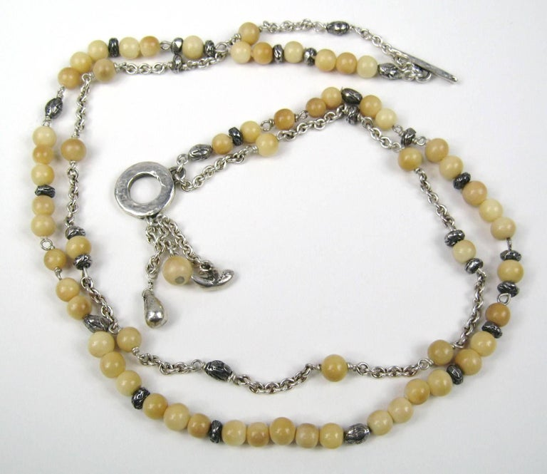 Sterling Silver beaded Susan Cummings Necklace, New never worn 1980s  In New Condition For Sale In Wallkill, NY