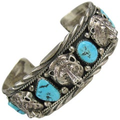 Sterling Silver Bear Head Turquoise Cuff Bracelet Sleeping Beauty Navajo