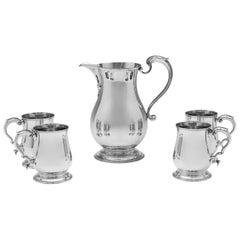 George III Style Sterling Silver Beer Jug and Set of Four Mugs by C. J. Vander