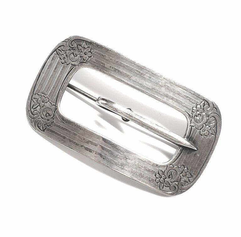 Women's Sterling Silver Belt Buckle Pin / Brooch For Sale