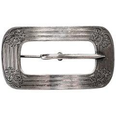 Sterling Silver Belt Buckle Pin / Brooch