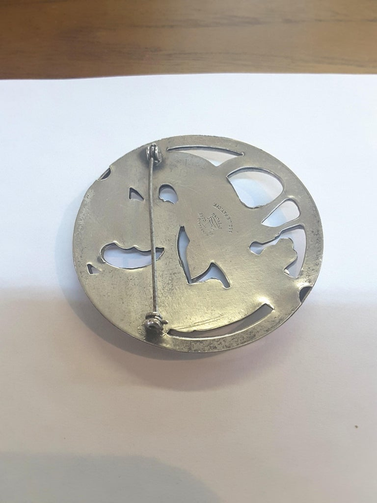 American Sterling Silver Bird and Berries Midcentury Brooch, Norsland by Coro For Sale