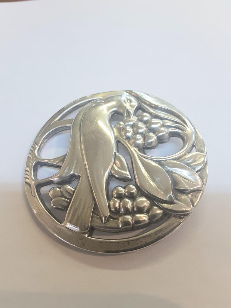 Embossed Sterling Silver Bird and Berries Midcentury Brooch, Norsland by Coro For Sale