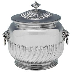 'Queen Anne' Design Victorian Antique Sterling Silver Biscuit Box by Barnards
