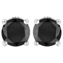 Sterling Silver Black Diamond Screw-Back 4-Prong Classic Stud Earrings