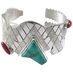 Sterling Silver Blue Carico Turquoise Dual Snake Cuff