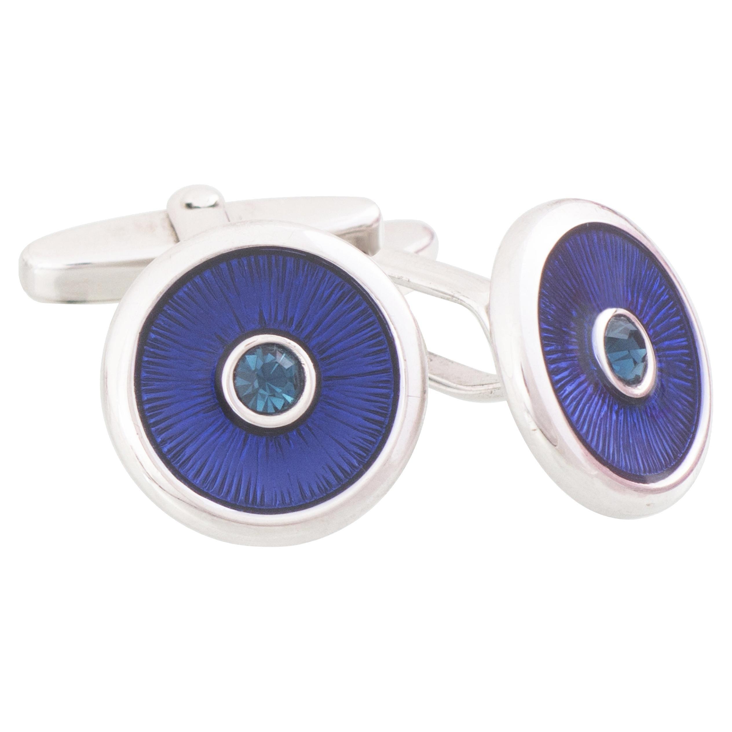 Sterling Silver Blue Guilloché Enamel Round Cufflinks