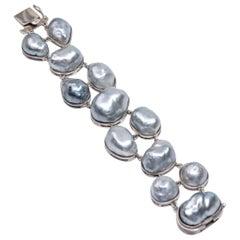 Sterling Silver Blue Oversized Baroque South Sea Pearl Link Bracelet