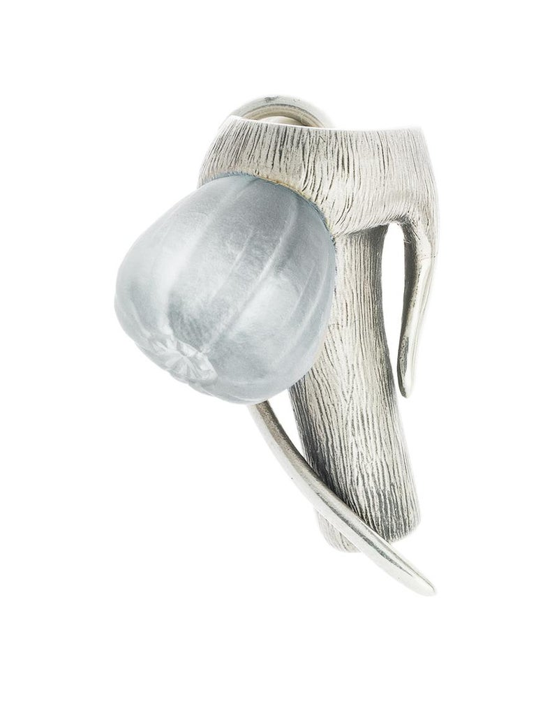 This contemporary Fig Men brooch is in sterling silver with tender frosted blue grown quartz. The collection was featured in Harper's Bazaar UA editorial, published issue.   This fig fruit is a unique hand made sculpture of the sweetest southern